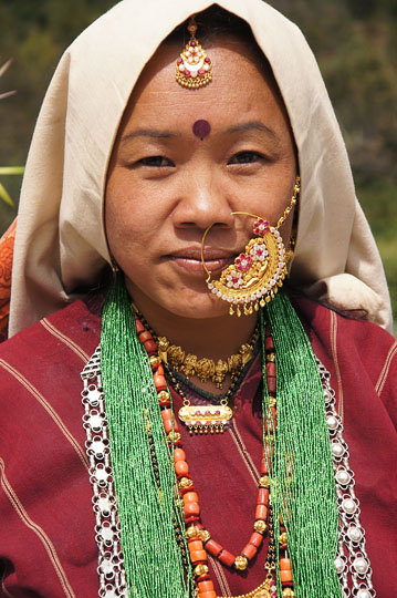 A woman with a traditional nose jewelry, Roong-Teejya 2011