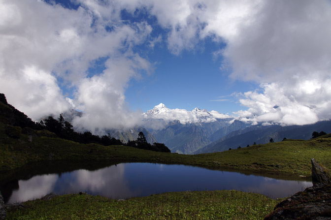 A reflection of the Dunagiri summit in lake Tali Tal, Kuari Pass trek 2011