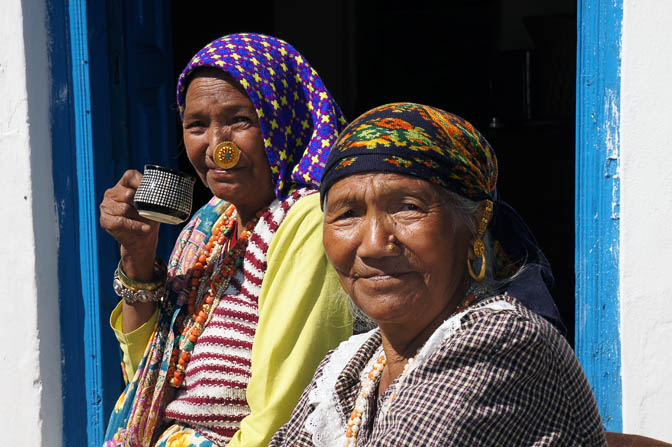 Two elderly sisters bask in the sun, Pangu 2011