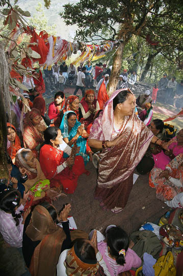 Women dancing and singing on Maha Ashtami, the eighth day of Durga Puja festival, Pangu 2011