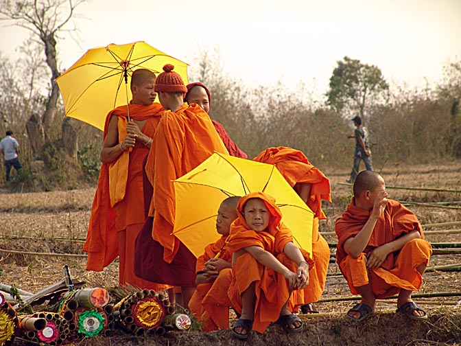 Novice Buddhist monks, The Rocket Festival in Ban Na Mai village, near Muang Sing 2007
