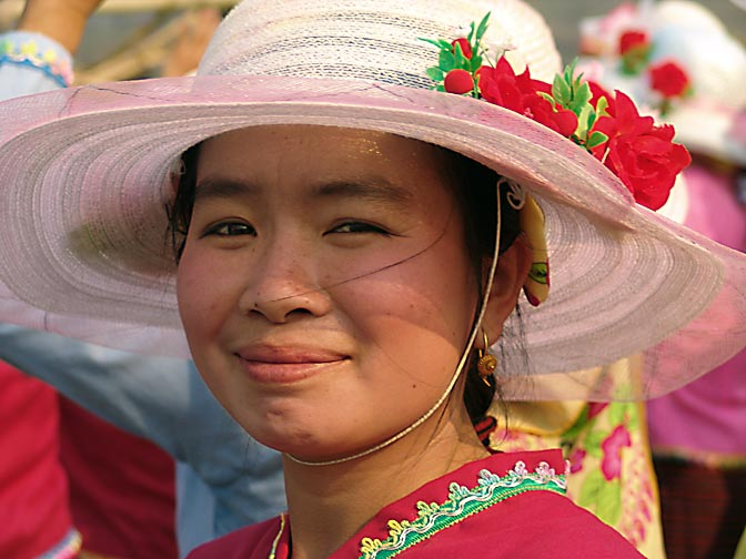 An ornamented young lady, The Rocket Festival in Ban Na Mai village, near Muang Sing 2007
