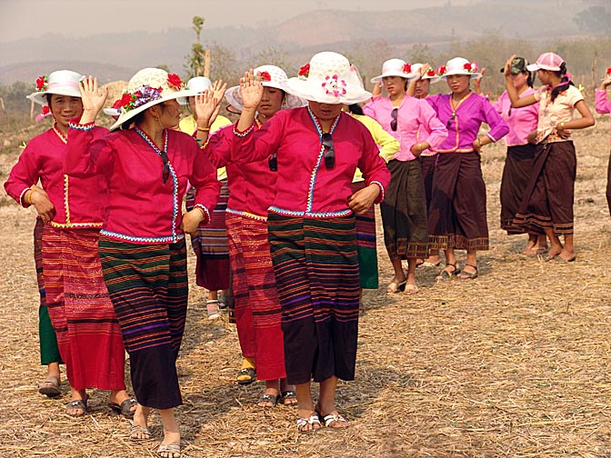 Lao ladies dancing, The Rocket Festival in Ban Na Mai village, near Muang Sing 2007