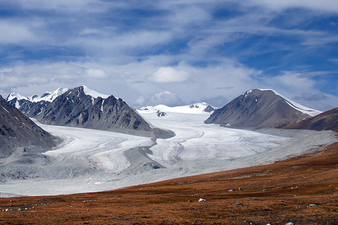 The great Potanin glacier (on right) in Tavan Bogd, 2014