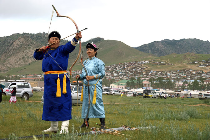 Women archery competition, the second game in the Naadam festival, Tsetserleg 2010