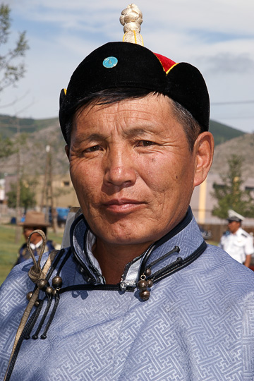 A participant in traditional Mongolian dress, Tsetserleg 2010