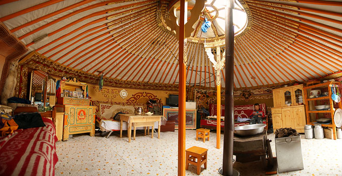 The Interior Of A Family Ger (Mongolian Home Tent) In Orkhon Valley,  Central Mongolia 2010