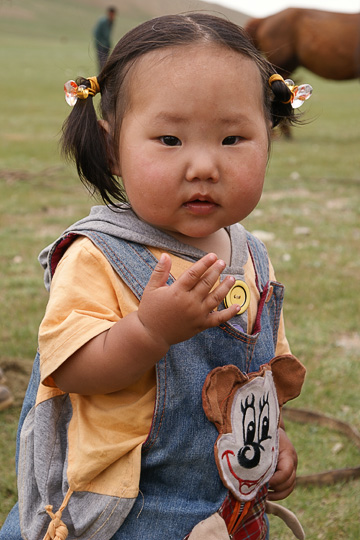 A baby girl in Orkhon Valley, Central Mongolia 2010