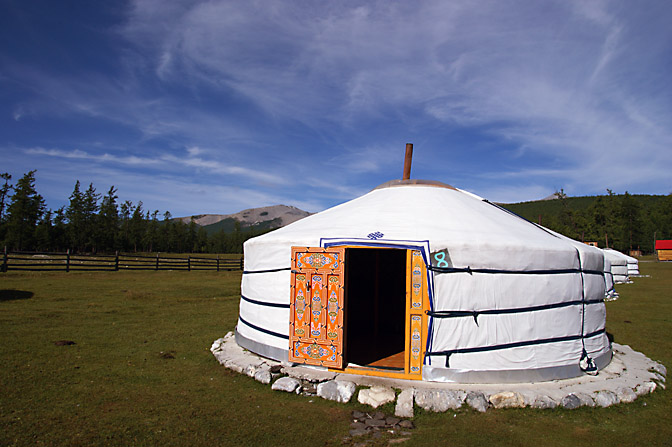 A hospitality Ger in a Tourist Ger Camp by Khovsgol Nuur (lake), North Mongolia 2010