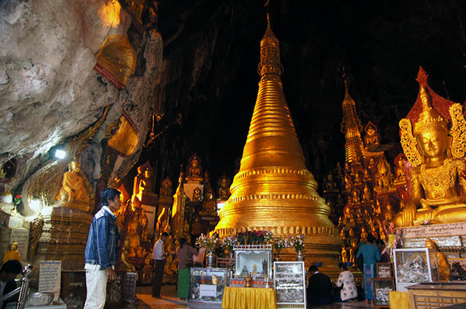 Stupa and golden Buddha images inside the Shwe Oo Min Natural Cave Pagoda, Pindaya Caves 2015