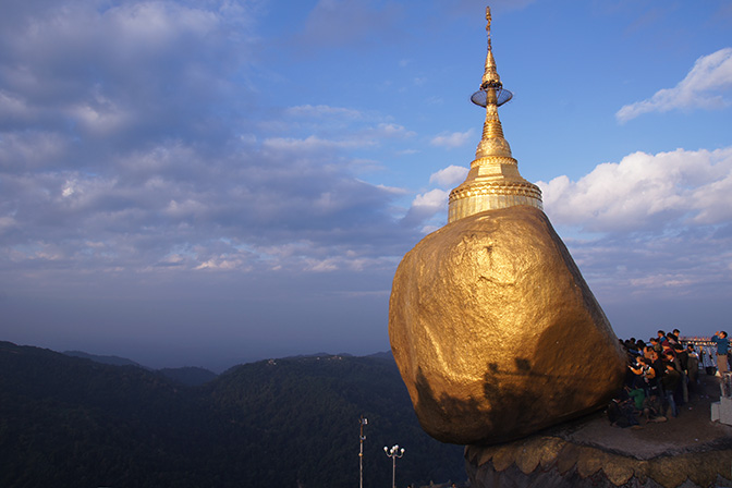 Kyaik-htee-yoe (Kyaiktiyo), The Golden Rock Pagoda at sunrise, 2016