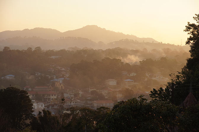 Kalaw nestled between mountains from Tein Taung hill at sunset, 2015