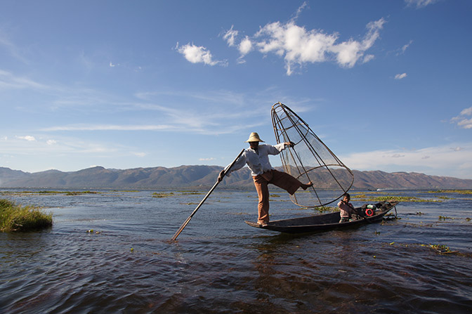 Fishing with cone-shaped net contraption, Inle Lake 2015
