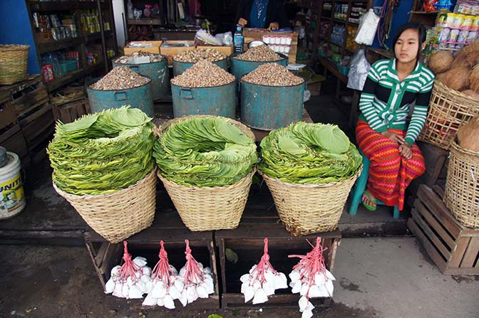 A stall in the market offers the ingredients of betel nut chewing, Myitkyina 2016
