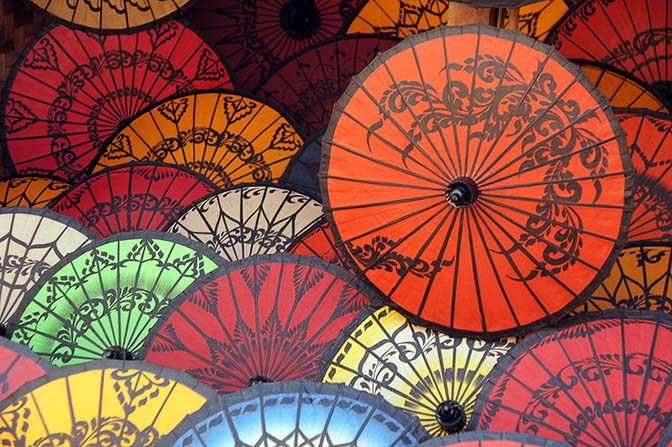 Myanmar Traditional Pathein colorful handmade umbrellas/parasols, Bagan 2015