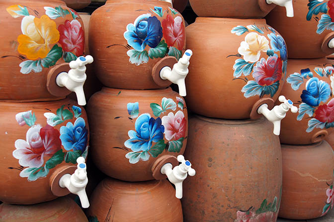Decorated clay water jugs, Myitkyina 2016