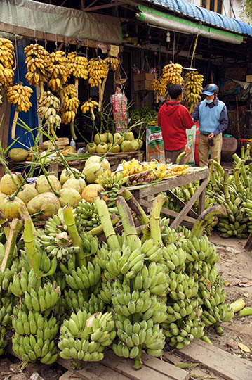 Bananas and coconuts stall in the market, Mandalay 2015
