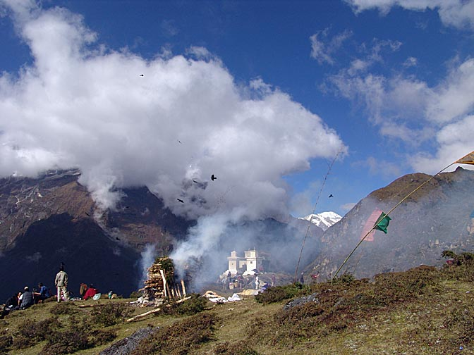 A cremation ceremony above Namche Bazaar, 2004