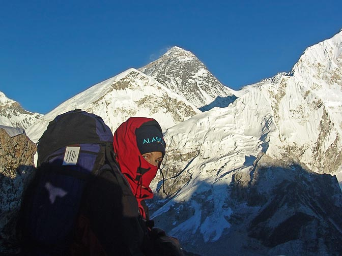 I, and the Everest in the background, from Kala Patthar, 2004