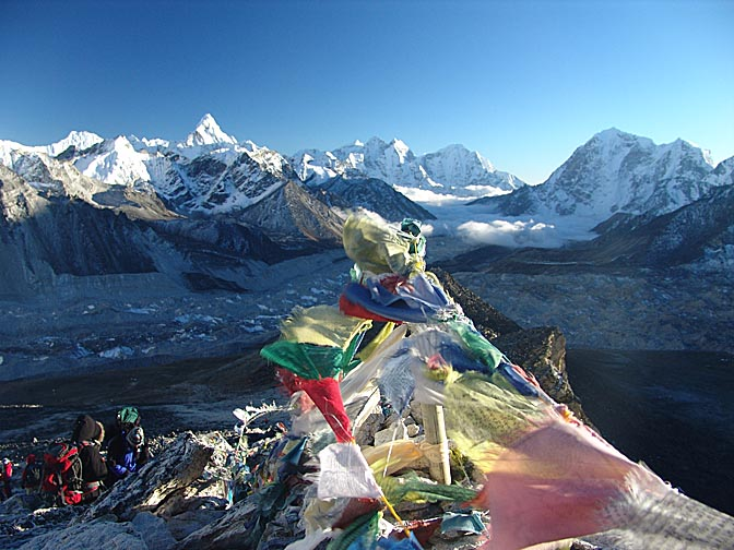 Fluttering prayer flags, in the view from Kala Patthar, 2004