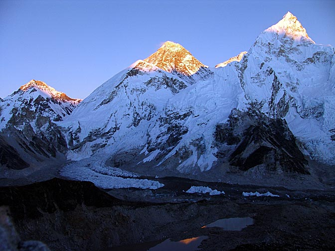 The warm colors of the Everest at sunset, from Kala Patthar, 2004