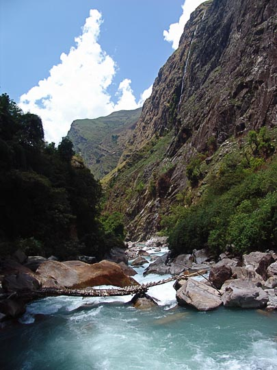 The Milky blue glacial water in the Ghunsa Khola gorge, 2006