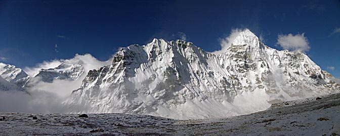 The panoramic view of the Kangchenjunga and Chang Himal from Pangpema, 2006