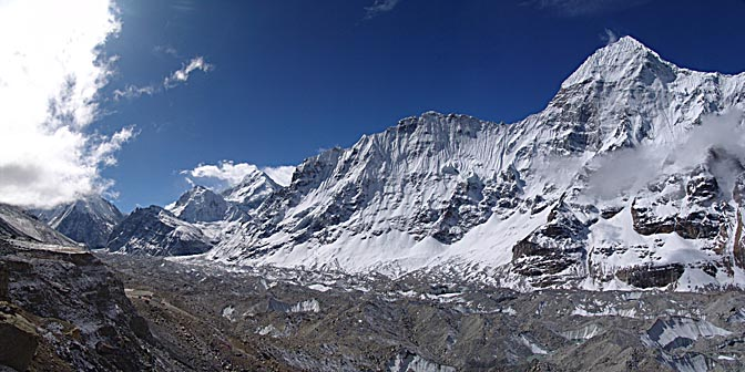 The view of Chang Himal with the Kangchenjunga Glacier at the bottom, 2006