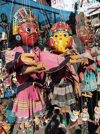 Colorful Marionettes, in the Katmandu Durbar Square Market, 2004