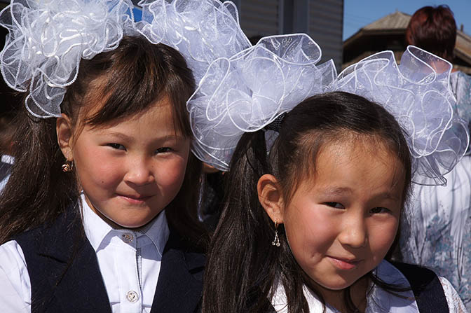 Students at the opening ceremony of the academic year in Tashanta village, by the Mongolian border, 2014
