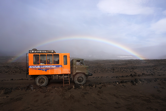 Rainbow on the Mutnovsky and Gorely Volcano plateau, and our 4WD truck, 2016