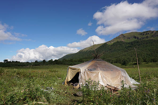 An Even Yurt (tent) in the summer camp of the nomadic raindeer herders, Esso Region 2016