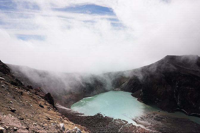 The blue lake inside the caldera of Gorely Volcano, 2016