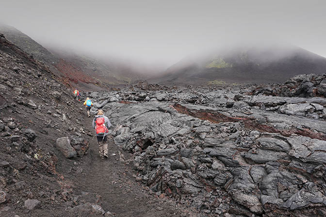A walking path along the lava flow from the eruption of the Tolbachic Volcano on 2012-2013, 2016