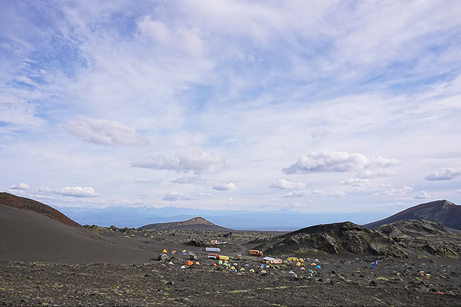 The tent camp at the foot of Tolbachic Volcano, 2016