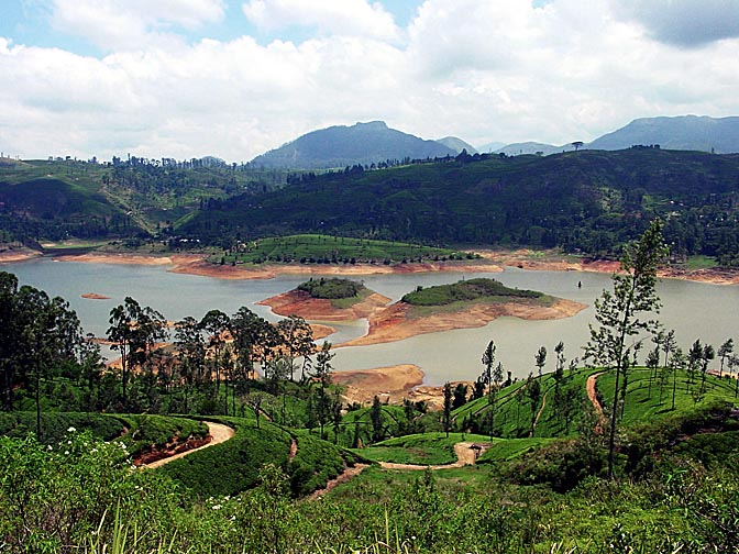 A reservoir and tea plantations around Nuwara Eliya, 2002