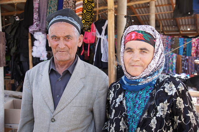 A couple of Tajik shopkeepers in the market, Khushikat 2013
