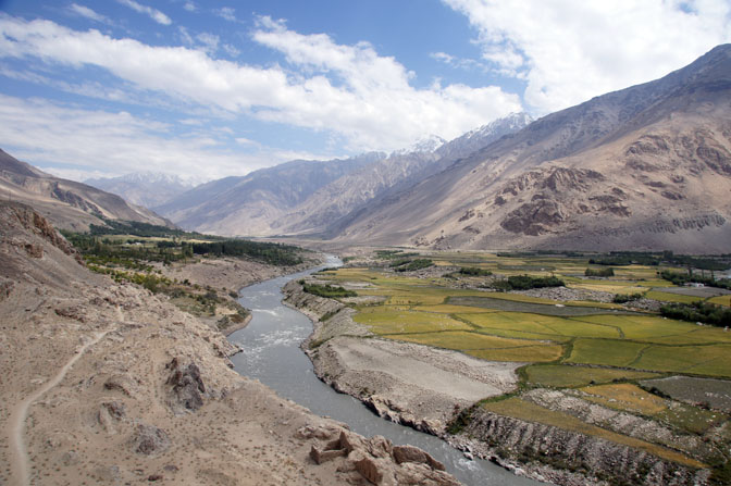 The Wakhan Corridor as seen from the remains of the ancient fortress of Khaakha Kala in Namadgut Bolo, 2013