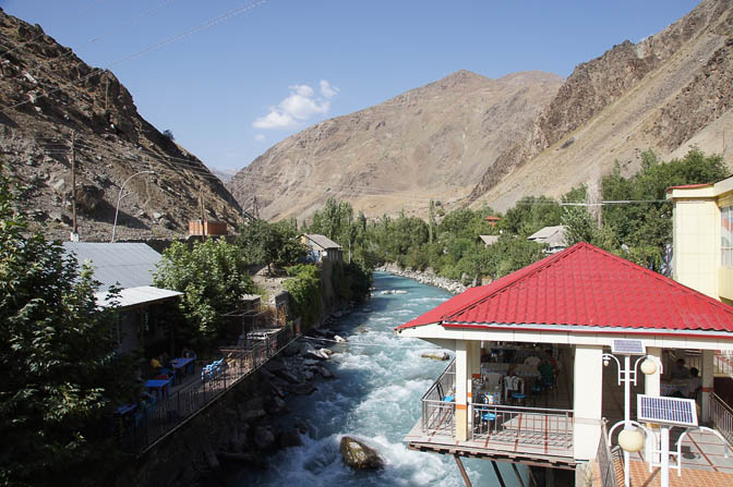 Restaurants above the Obikhumbob river, Qalai-Khumb 2013