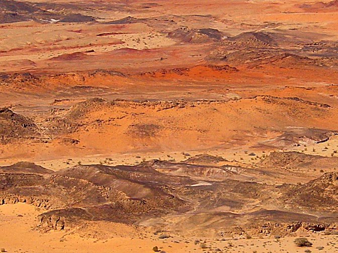Colorful sand formations in the Ardon valley, the Ramon Makhtesh, the Negev, Israel 2002