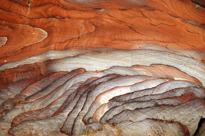 Colored sandstone forms in Wadi el Maiet in Rajef Relict Mountains, Jordan 2010