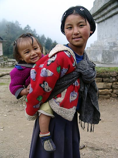 Tied to the back in Trakshindo La, along the Khumbu Trail to the Everest, Nepal 2004