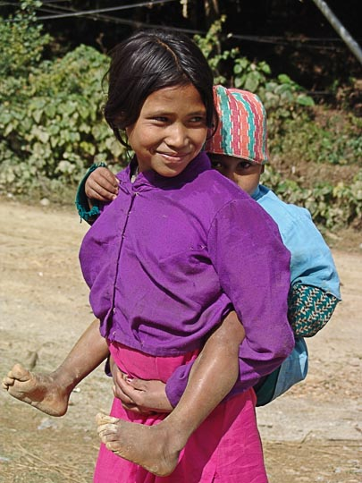 On the back in Ichangu, suburb of Katmandu, Nepal 2004