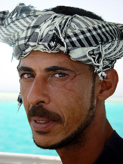 The skipper of a diving yacht, in the Red Sea near Sharm-el-Sheik, the Sinai Peninsula, Egypt 2003