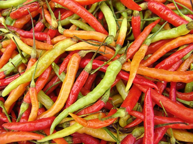 Colorful chili peppers in Luang Namtha market, Laos 2007