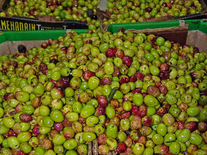Colorful olives in the old city of Jerusalem market, Israel 2006