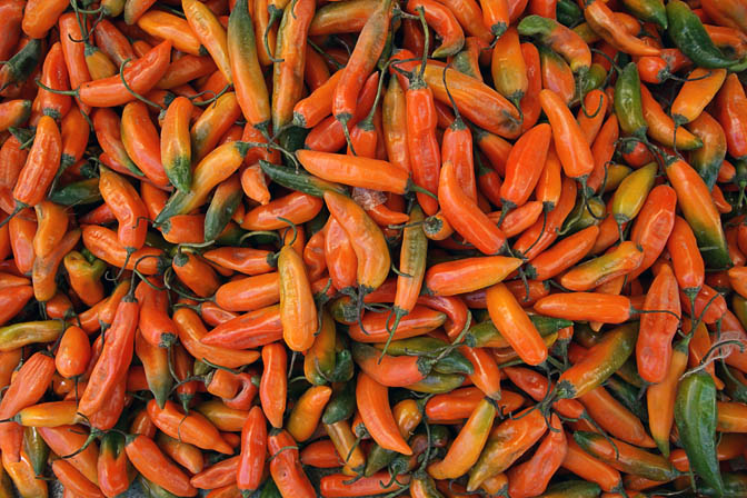 Colorful chili peppers in Huaraz market, Peru 2008
