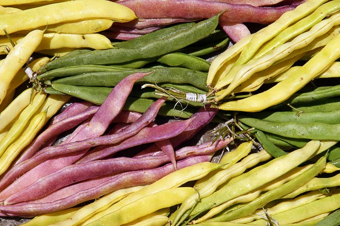 Colored bean pods (Fabaceae) in Goroka market, Papua New Guinea 2009