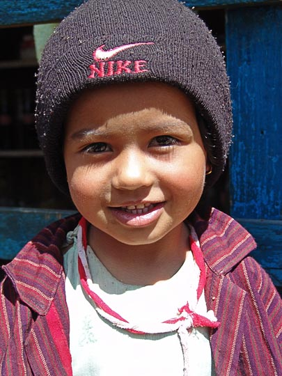 A Nepali kid, on the way from Jiri to Shivalaya, along the Khumbu Trail to the Everest, Nepal 2004