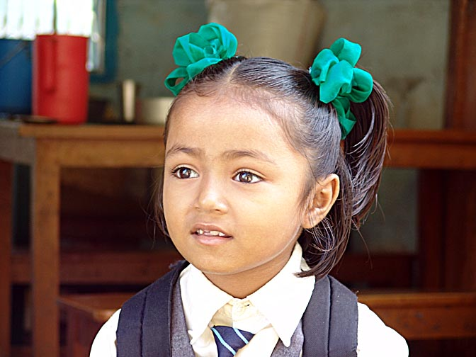 A Nepali girl on the way from Katmandu to Jiri, Nepal 2004